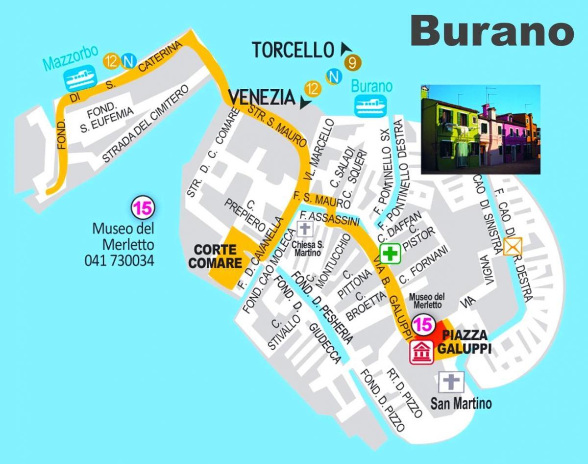 Carte Italie Burano.L Ile De Burano Venise Carte Carte De L Ile De Burano